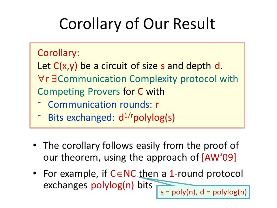Corollary of Our Result Corollary: Let C(x,y) be a circuit of size s and depth d.