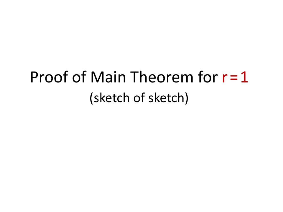 Proof of Main Theorem for r = 1 (sketch of sketch)