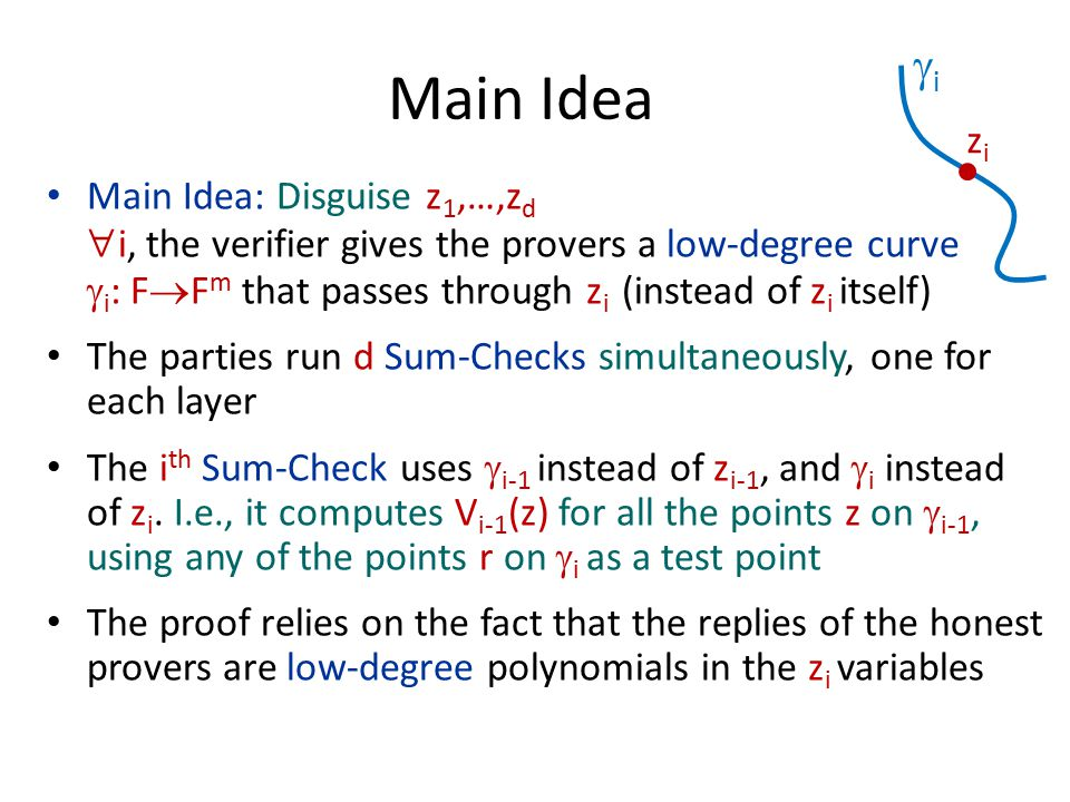 Main Idea: Disguise z 1,…,z d  i, the verifier gives the provers a low-degree curve  i : F  F m that passes through z i (instead of z i itself) The parties run d Sum-Checks simultaneously, one for each layer The i th Sum-Check uses  i-1 instead of z i-1, and  i instead of z i.