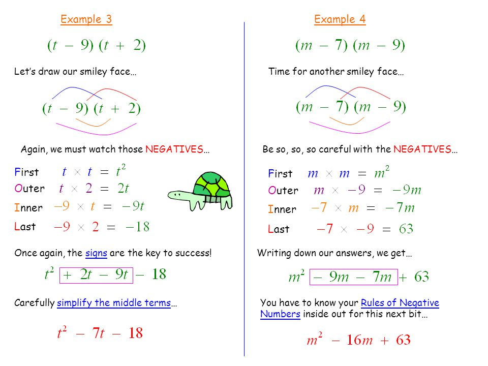Example 3 Let's draw our smiley face… First Outer Inner Last Carefully simplify the middle terms… Example 4 Time for another smiley face… First Outer Inner Last You have to know your Rules of Negative Numbers inside out for this next bit… Be so, so, so careful with the NEGATIVES… Writing down our answers, we get… Again, we must watch those NEGATIVES… Once again, the signs are the key to success!