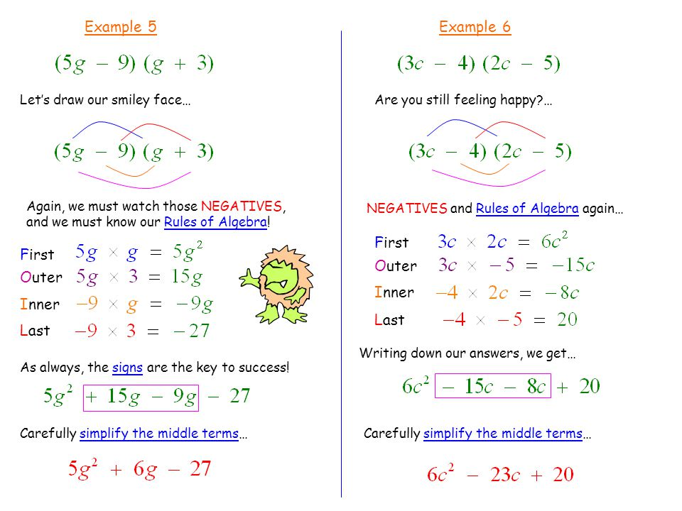 Example 5 Let's draw our smiley face… First Outer Inner Last Carefully simplify the middle terms… Example 6 Are you still feeling happy?… First Outer Inner Last NEGATIVES and Rules of Algebra again… Writing down our answers, we get… Again, we must watch those NEGATIVES, and we must know our Rules of Algebra.
