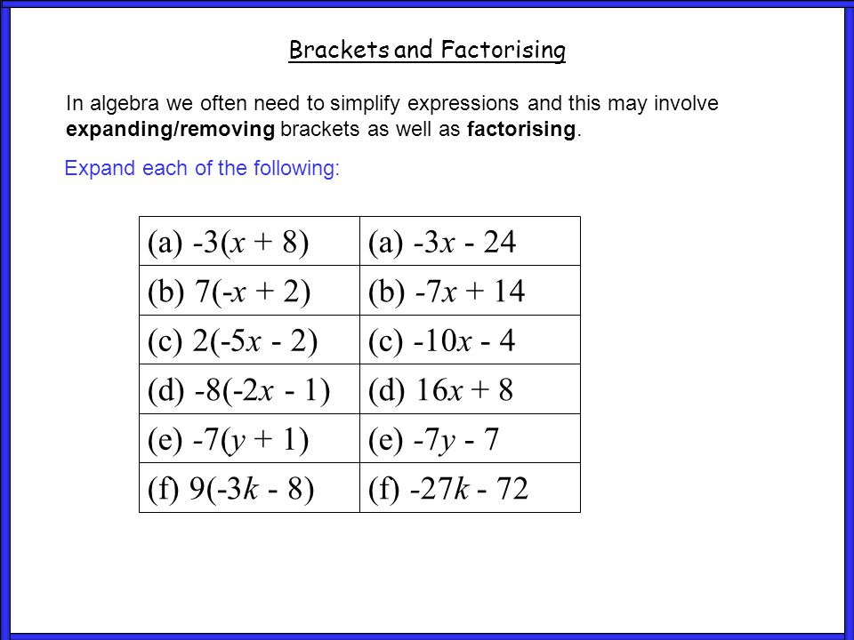 Questions 2 Brackets and Factorising In algebra we often need to simplify expressions and this may involve expanding/removing brackets as well as factorising.