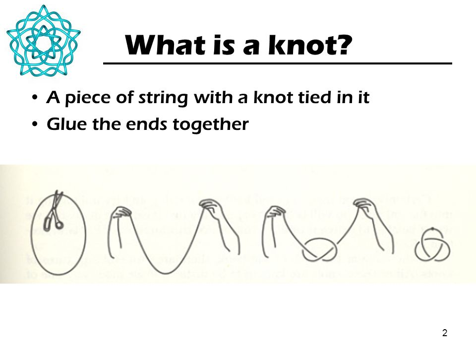 2 What is a knot? A piece of string with a knot tied in it Glue the ends together