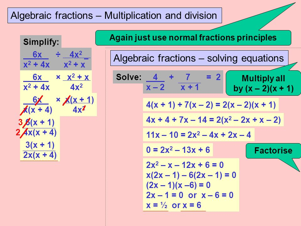 Algebraic fractions – Addition and subtraction Like ordinary fractions you can only add or subtract algebraic fractions if their denominators are the