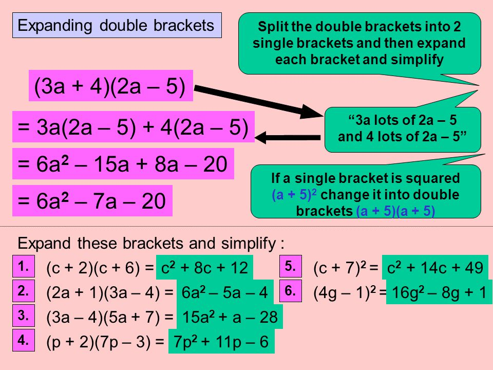 Expanding single brackets e.g. 4(2a + 3) = x 8a x + 12 Remember to multiply all the terms inside the bracket by the term immediately in front of the b