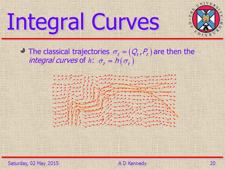 20 Saturday, 02 May 2015A D Kennedy Integral Curves The classical trajectories are then the integral curves of h :