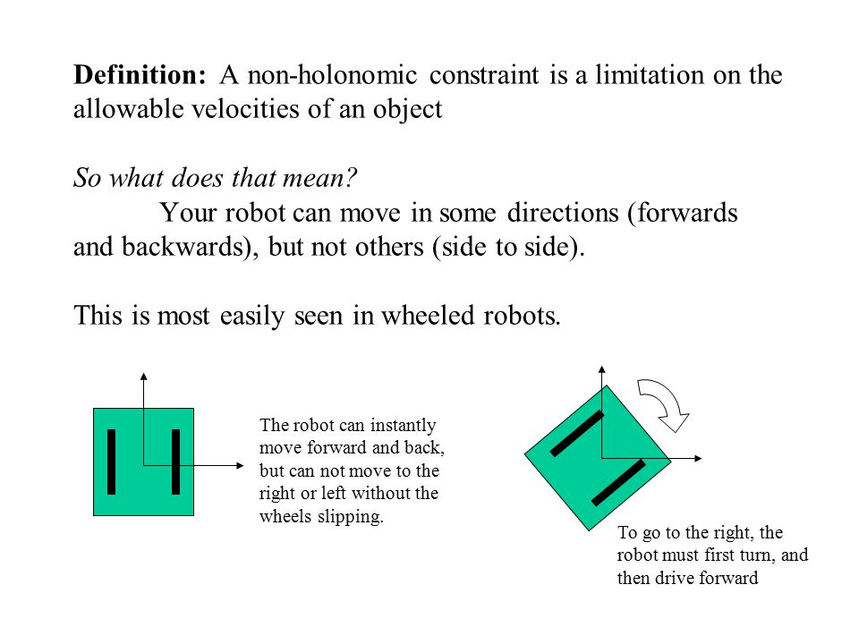 Definition: A non-holonomic constraint is a limitation on the allowable velocities of an object So what does that mean.