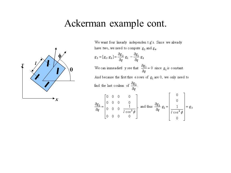 Ackerman example cont.   y x l