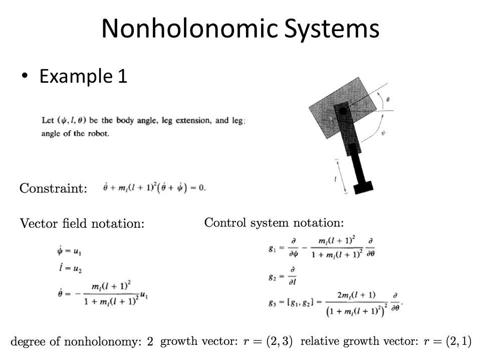 Nonholonomic Systems Example 1
