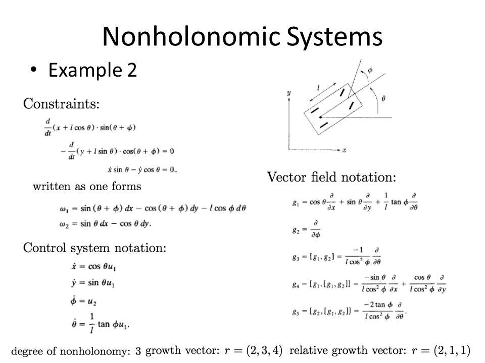 Nonholonomic Systems Example 2