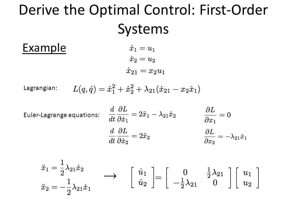 Derive the Optimal Control: First-Order Systems Example Lagrangian: Euler-Lagrange equations: