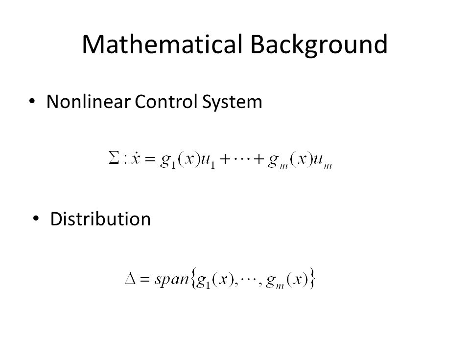 Mathematical Background Nonlinear Control System Distribution