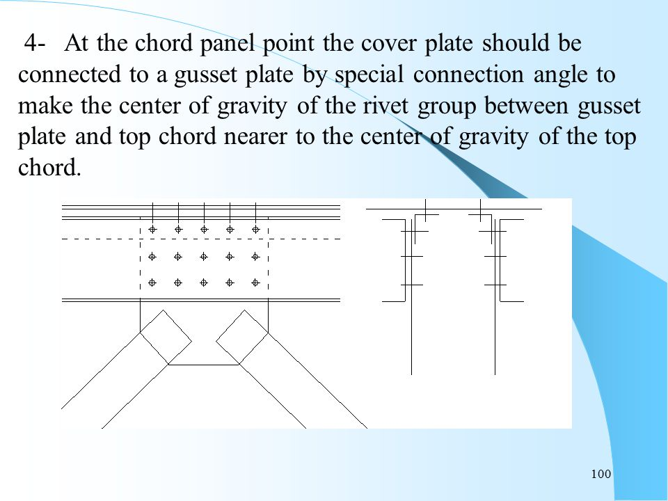 100 4- At the chord panel point the cover plate should be connected to a gusset plate by special connection angle to make the center of gravity of the