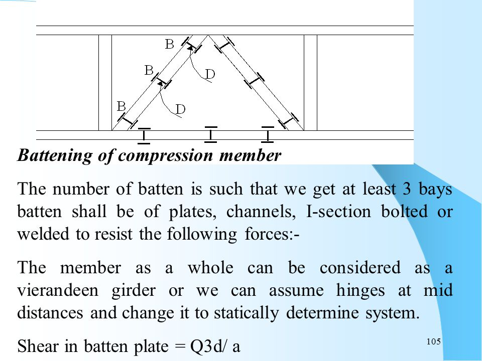 105 Battening of compression member The number of batten is such that we get at least 3 bays batten shall be of plates, channels, I-section bolted or