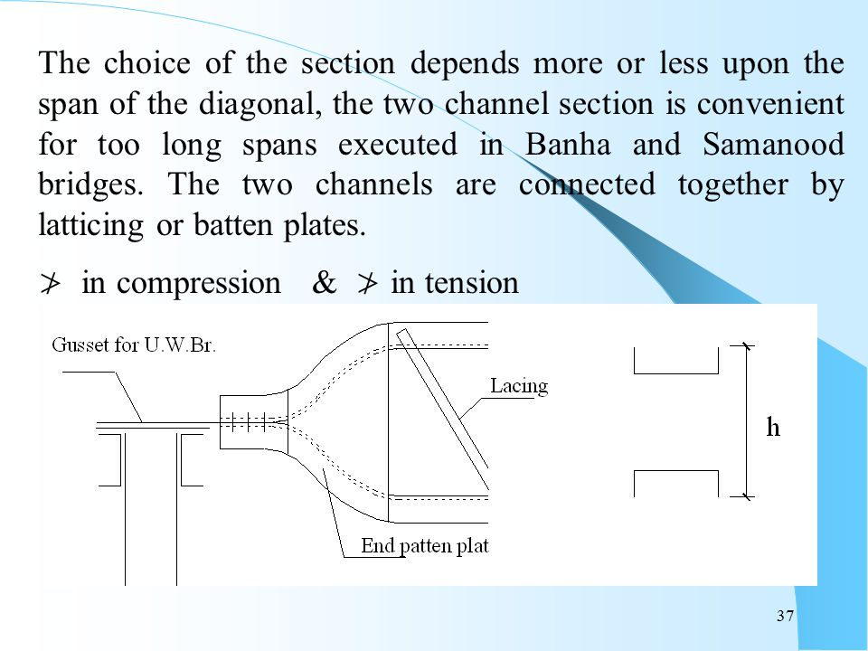 37 The choice of the section depends more or less upon the span of the diagonal, the two channel section is convenient for too long spans executed in