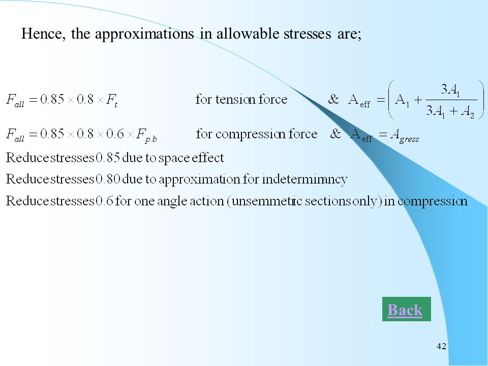 42 Hence, the approximations in allowable stresses are; Back