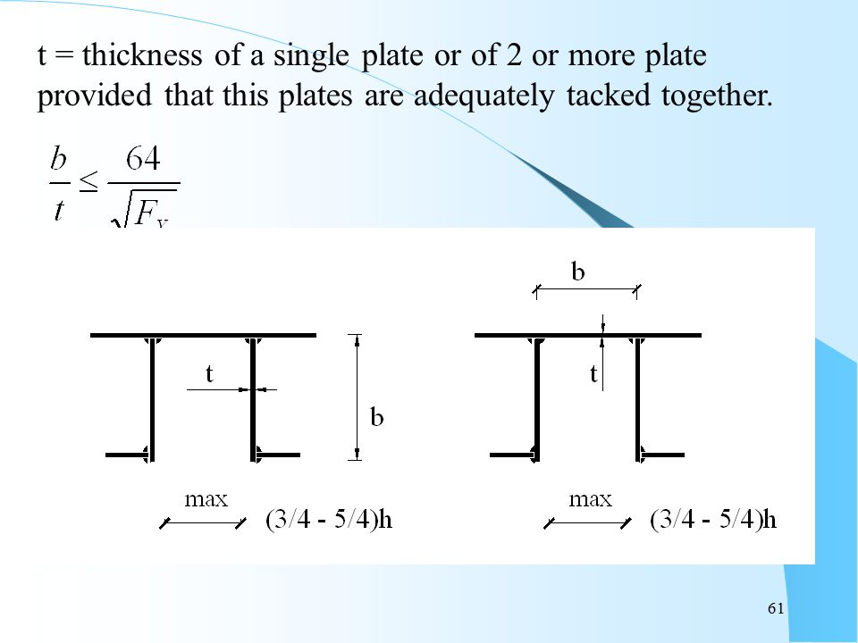 61 t = thickness of a single plate or of 2 or more plate provided that this plates are adequately tacked together.