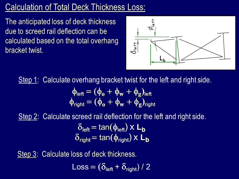 Calculation of Total Deck Thickness Loss: The anticipated loss of deck thickness due to screed rail deflection can be calculated based on the total ov