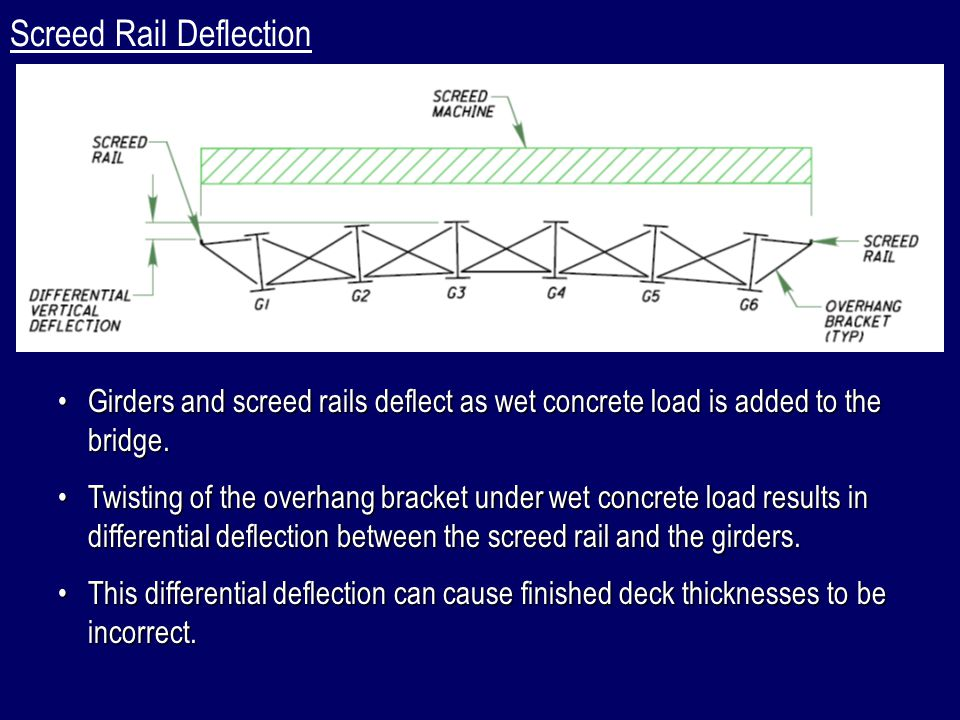 Sample Deck Thickness Loss Calculation, Continued: Right Side:  o  = 0  o  = 0° (Girder Depth < 78 )  w = 0.3  w = 0.3° (From TAEG Analysis)  g = 0  g = 0° (Exterior Concrete DL < 110% of Interior Concrete DL)  right  o  w  g ) right = (0 + 0.3+ 0) = 0.3  right  =  o  w  g ) right = (0° + 0.3° + 0°) = 0.3° Deck Thickness Loss:  left   tan  L b  left   tan  left ) x  L b = tan(0.3°) x 4.0 ft x 12 in/ft = 0.25 Loss   left +  right ) / 2 = (0.25 + 0.25 ) / 2 = 0.25  right   tan  L b  right   tan  right ) x  L b = tan(0.3°) x 4.0 ft x 12 in/ft = 0.25