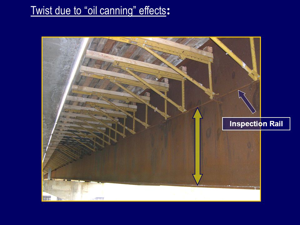 The twist occurring in the exterior girders due to global deflection causes an equivalent twist in the overhang bracket.