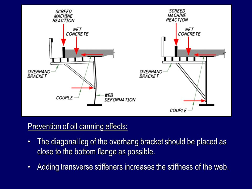 Prediction of oil canning effects: For girders with web depths of less than 78 inches, oil canning effects can be neglected if the overhang bracket terminates within 8 of the bottom flange.For girders with web depths of less than 78 inches, oil canning effects can be neglected if the overhang bracket terminates within 8 of the bottom flange.