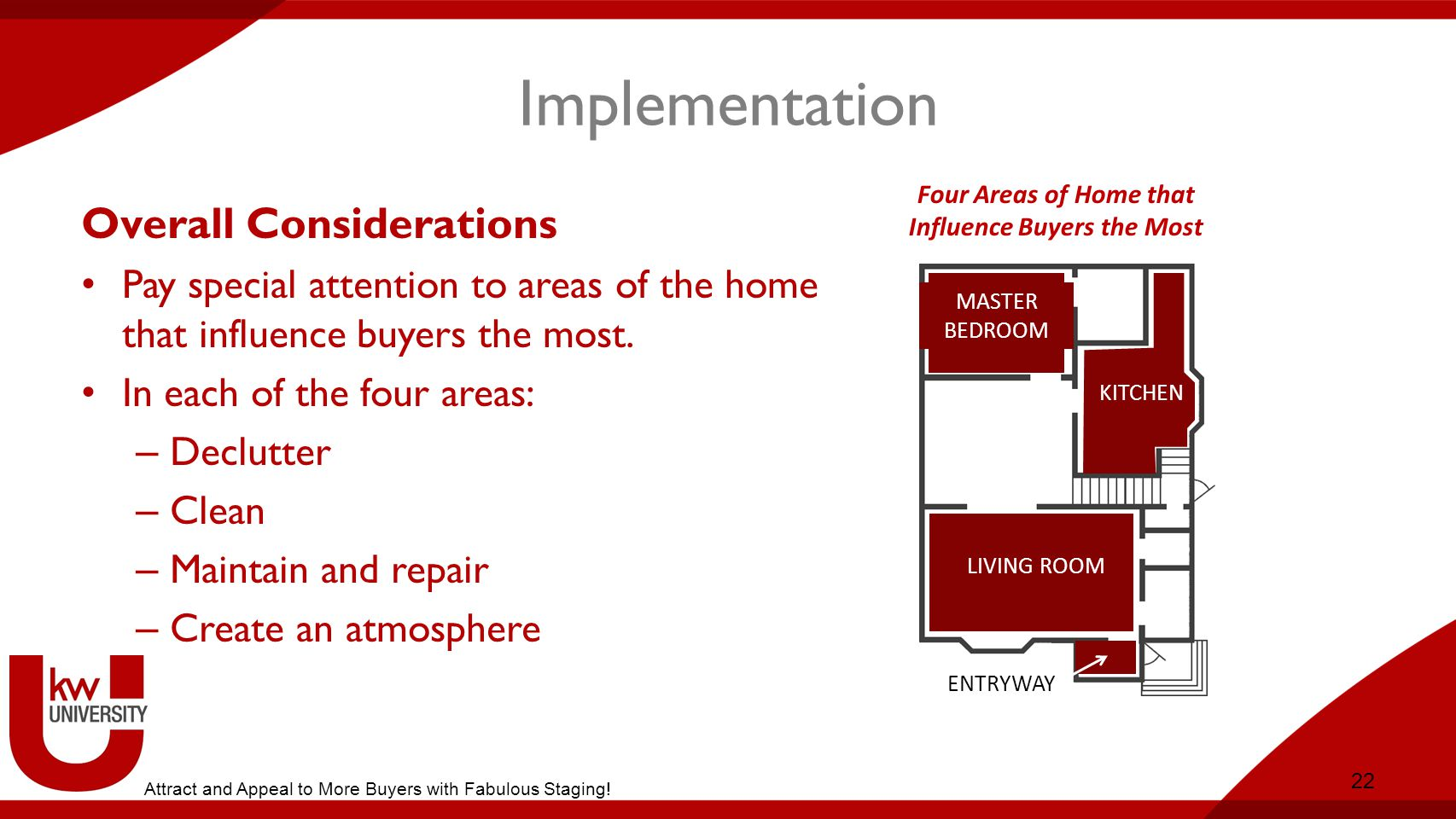 Implementation Overall Considerations Pay special attention to areas of the home that influence buyers the most.