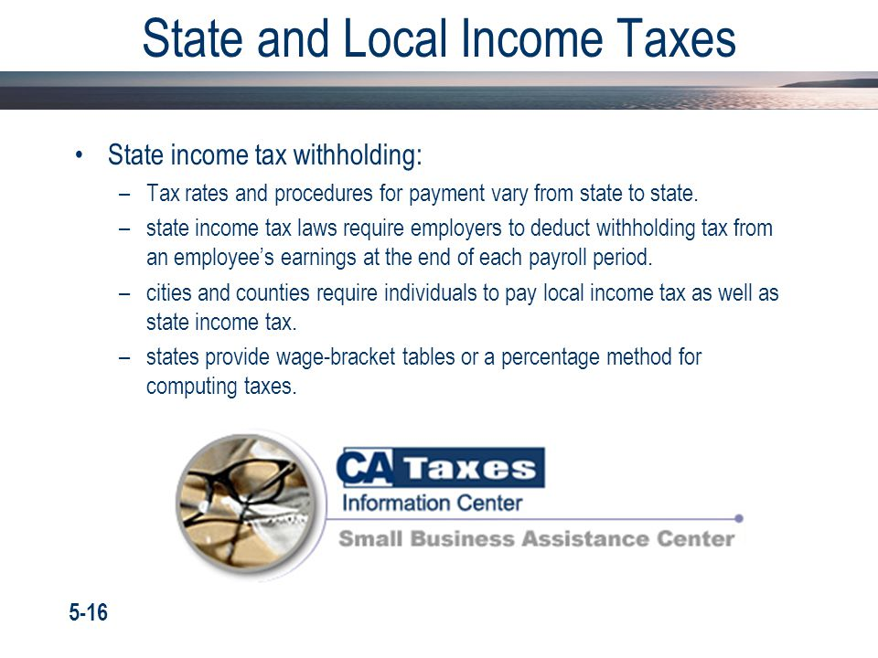 State and Local Income Taxes State income tax withholding: –Tax rates and procedures for payment vary from state to state. –state income tax laws requ