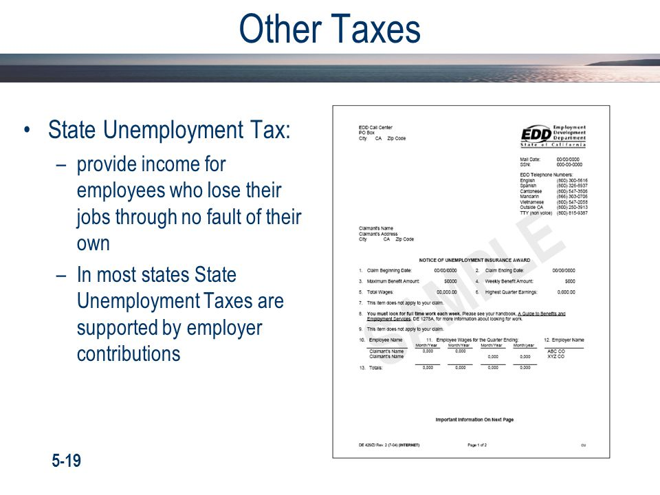 Other Taxes State Unemployment Tax: –provide income for employees who lose their jobs through no fault of their own –In most states State Unemployment