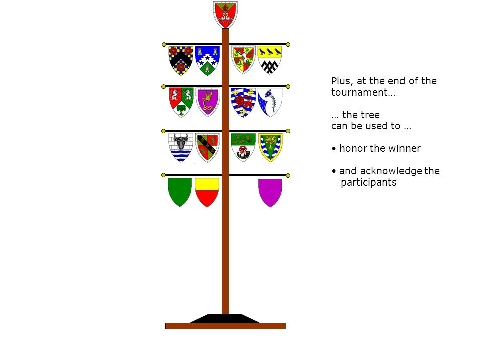 Plus, at the end of the tournament… … the tree can be used to … honor the winner and acknowledge the participants