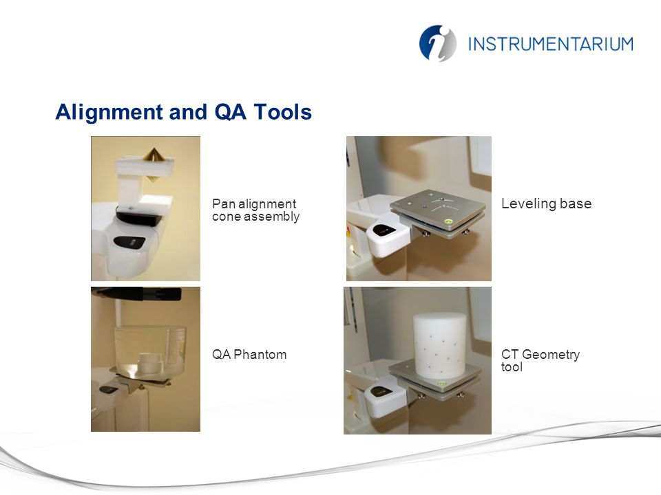 Alignment and QA Tools Pan alignment cone assembly QA PhantomCT Geometry tool Leveling base