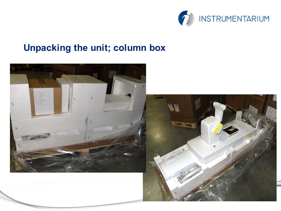 Unpacking the unit; column box