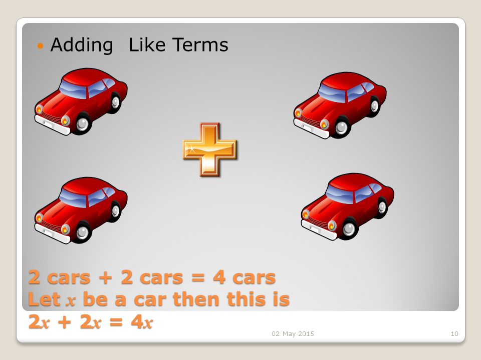 2 cars + 2 cars = 4 cars Let x be a car then this is 2 x + 2 x = 4 x 2 cars + 2 cars = 4 cars Let x be a car then this is 2 x + 2 x = 4 x Adding Like Terms 1002 May 2015