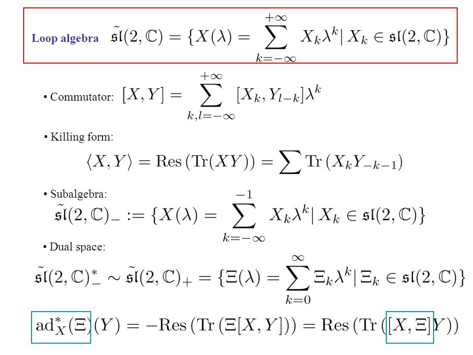 Loop algebra Commutator: Killing form: Subalgebra: Dual space: