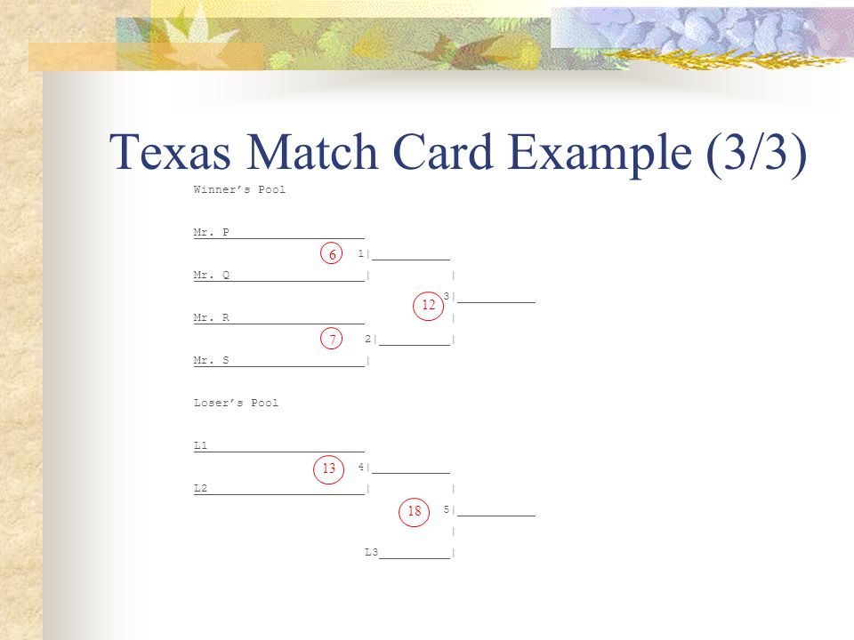 Texas Match Card Example (3/3) Winner's Pool Mr. P 1| Mr.