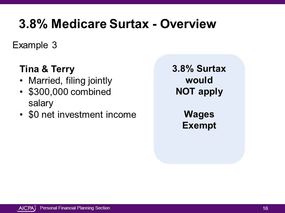 Personal Financial Planning Section Example 3 Tina & Terry Married, filing jointly $300,000 combined salary $0 net investment income 3.8% Surtax would NOT apply Wages Exempt 3.8% Medicare Surtax - Overview 16