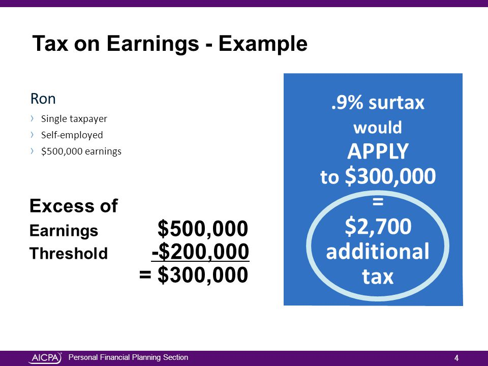 Personal Financial Planning Section Ron › Single taxpayer › Self-employed › $500,000 earnings Excess of Earnings $500,000 Threshold -$200,000 = $300,000.9% surtax would APPLY to $300,000 = $2,700 additional tax.9% surtax would APPLY to $300,000 = $2,700 additional tax Tax on Earnings - Example 4