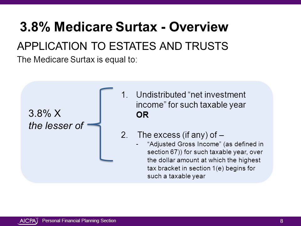Personal Financial Planning Section Planning Around the Surtax Strategies for Reducing MAGI Charitable Lead Trust (CLT) Two Main Types of CLTs Charitable Lead Annuity Trust (CLAT) – the charitable beneficiary receives a stated amount of the initial trust assets each year The amount received is established at the beginning of the trust and will not change during the term of the trust regardless of investment performance (unless inadequate investment performance causes the trust to run out of assets) Charitable Lead Unitrust (CLUT) – the charitable beneficiary receives a stated percentage of the trust's assets each year.