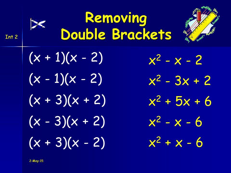 Int 2 2-May-15 (x + 1)(x - 2) Removing Double Brackets (x - 1)(x - 2) (x + 3)(x + 2) (x - 3)(x + 2) (x + 3)(x - 2) x 2 - x - 2 x 2 - 3x + 2 x 2 + 5x + 6 x 2 - x - 6 x 2 + x - 6