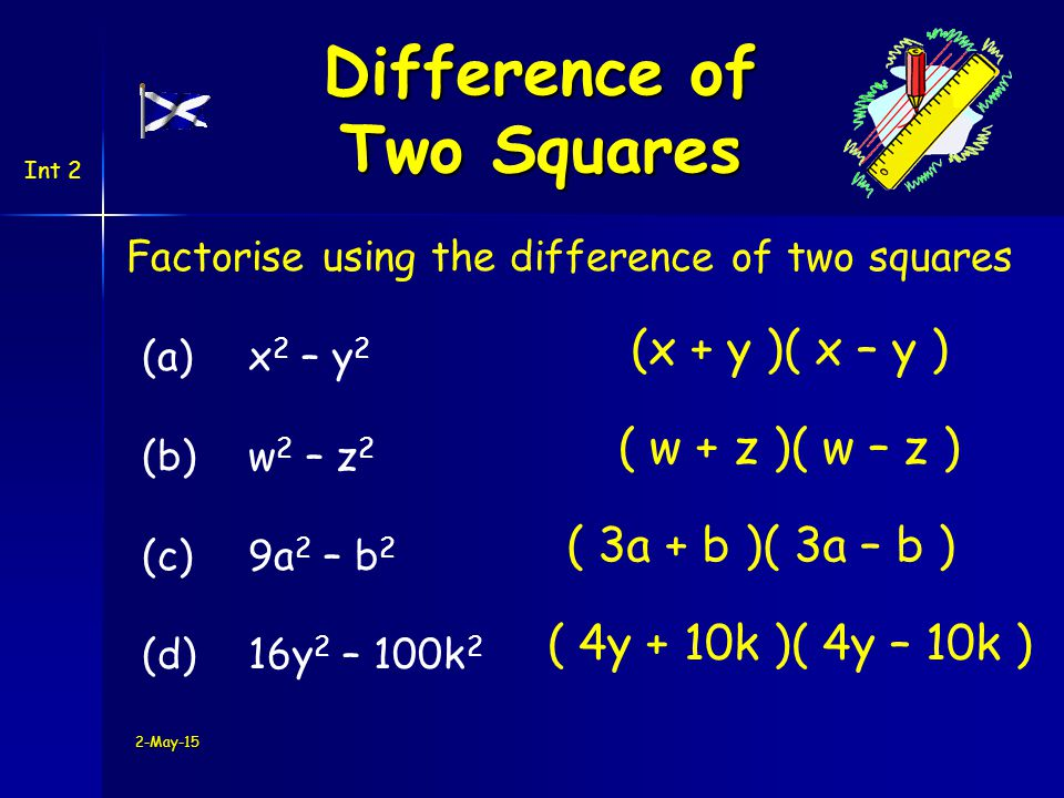 2-May-15 Factorise using the difference of two squares (a)x 2 – y 2 (b) w 2 – z 2 (c) 9a 2 – b 2 (d)16y 2 – 100k 2 (x + y )( x – y ) ( w + z )( w – z ) ( 3a + b )( 3a – b ) ( 4y + 10k )( 4y – 10k ) Difference of Two Squares Int 2