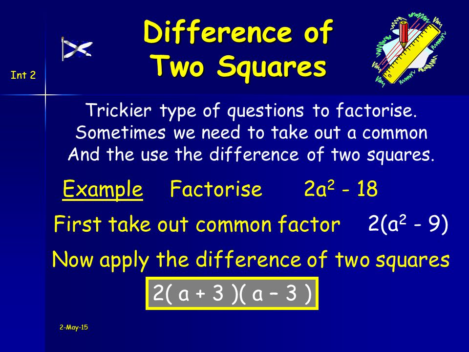 2-May-15 Trickier type of questions to factorise.