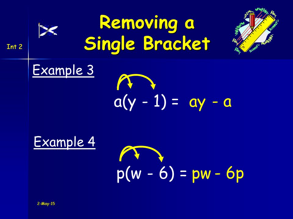 2-May-15 Now try Exercise 2 Ch5 MIA (page 50) Int 2 Removing a Single Bracket
