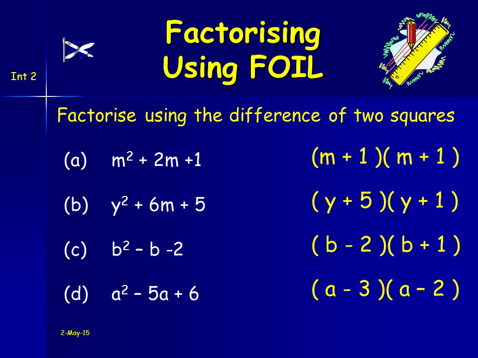 2-May-15 Factorise using the difference of two squares (a)m 2 + 2m +1 (b) y 2 + 6m + 5 (c) b 2 – b -2 (d)a 2 – 5a + 6 (m + 1 )( m + 1 ) ( y + 5 )( y + 1 ) ( b - 2 )( b + 1 ) ( a - 3 )( a – 2 ) Int 2 Factorising Using FOIL