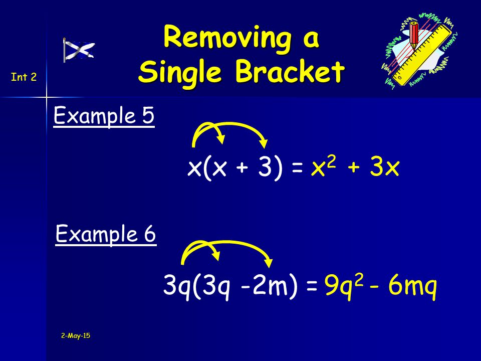 Int 2 -2(h + 5) =-2h - 10 Example 7 -(g - 9) =-g + 9 Example 8 2-May-15 Removing a Single Bracket Be careful with negatives !!