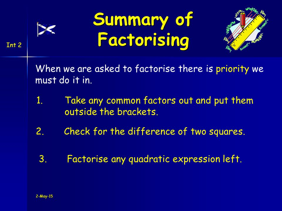 2-May-15 Summary of Factorising Int 2 When we are asked to factorise there is priority we must do it in.