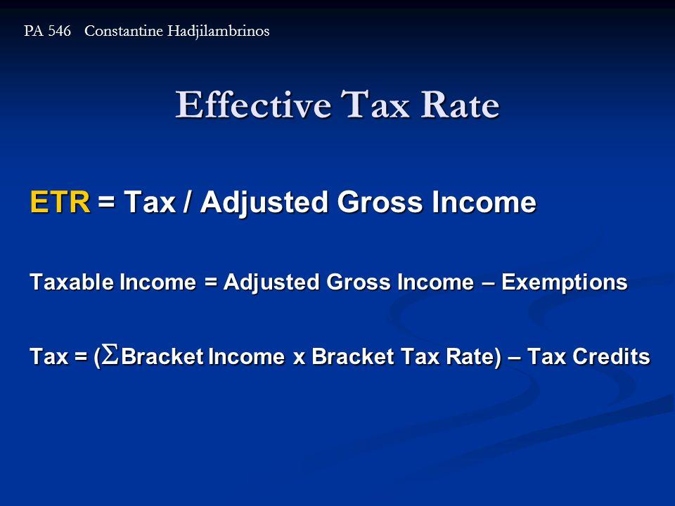 Effective Tax Rate ETR = Tax / Adjusted Gross Income Taxable Income = Adjusted Gross Income – Exemptions Tax = (  Bracket Income x Bracket Tax Rate) – Tax Credits PA 546 Constantine Hadjilambrinos