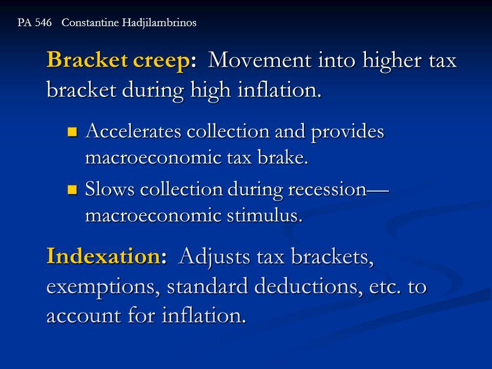 Bracket creep: Movement into higher tax bracket during high inflation.