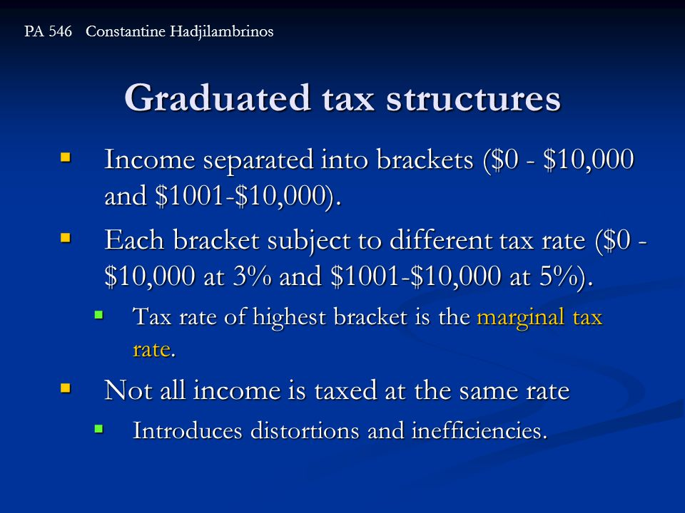 Graduated tax structures  Income separated into brackets ($0 - $10,000 and $1001-$10,000).