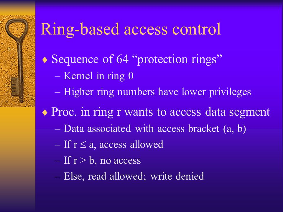 Ring-based access control  Sequence of 64 protection rings –Kernel in ring 0 –Higher ring numbers have lower privileges  Proc.