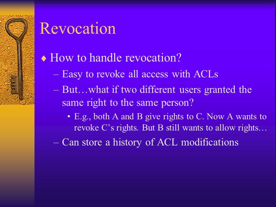 Revocation  How to handle revocation.