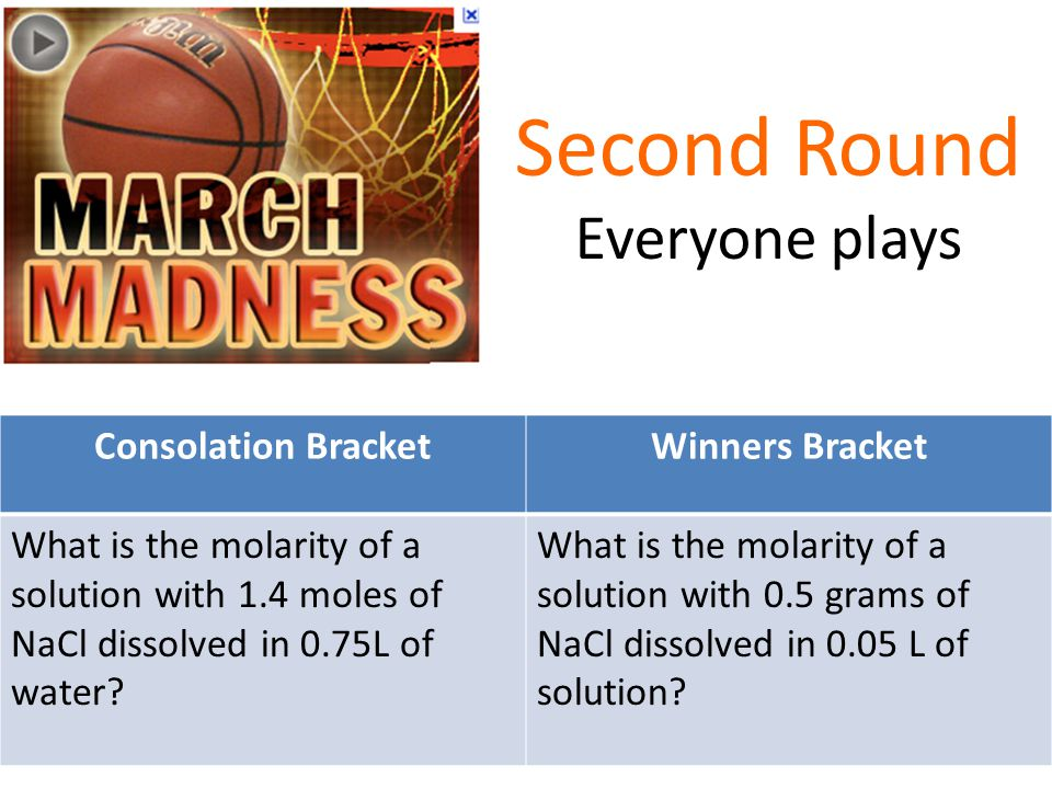 Second Round Everyone plays Consolation BracketWinners Bracket What is the molarity of a solution with 1.4 moles of NaCl dissolved in 0.75L of water.